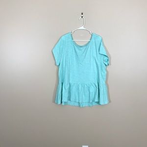Lane Bryant Light Blue Short Sleeve Peplum Top